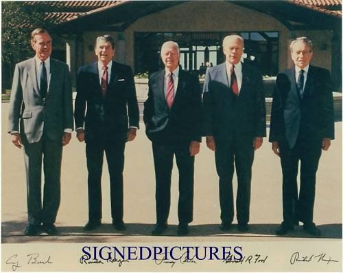 5 US PRESIDENTS GEORGE BUSH RONALD REAGAN NIXON CARTER AND FORD SIGNED RP PHOTO