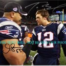 JUNIOR SEAU AND TOM BRADY AUTOGRAPHED 8x10 RP PHOTO NE PATRIOTS JR