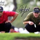 PHIL MICKELSON AND TIGER WOODS AUTOGRAPHED 8x10 RP PHOTO GOLF LEGENDS