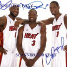 MIAMI HEAT TEAM LEBRON JAMES CHRIS BOSH AND DWAYNE WADE SIGNED RP 8x10 PHOTO