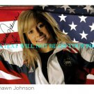 SHAWN JOHNSON AUTOGRAPHED 8x10 RP PHOTO OLYMPICS GOLD MEDALIST USA FLAG