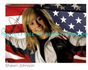 SHAWN JOHNSON AUTOGRAPHED 8x10 RP PHOTO OLYMPICS GOLD MEDALIST USA FLAG