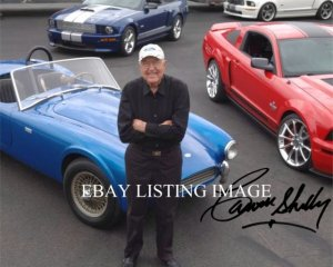 CARROLL SHELBY WITH MUSTANG COBRA AUTOGRAPHED 8x10 RP PHOTO