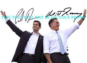 MITT ROMNEY AND PAUL RYAN AUTOGRAPHED 8x10 RP PHOTO REPUBLICAN CANDIDATES