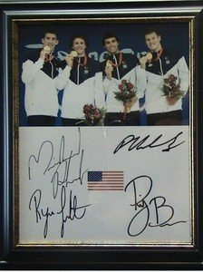 MICHAEL PHELPS RYAN LOCHTE PETER VANDERKAAY RICKY BERENS FRAMED SIGNED AUTOGRAPHED RP PHOTO