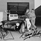 CARROLL SHELBY AND STEVE MCQUEEN AUTOGRAPHED 8x10 RP MUSTANG COBRA PHOTO
