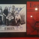 THE EAGLES FRAMED SIGNED AUTOGRAMM RP PHOTO AND TOUR FLYER HENLEY GLENN FREY WALSH SCHMIT +