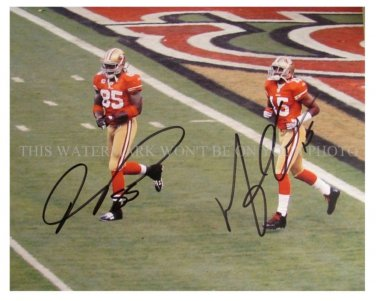 VERNON DAVIS AND MICHAEL CRABTREE SIGNED AUTOGRAPHED 8x10 RPT PHOTO SAN FRANCISCO 49ers
