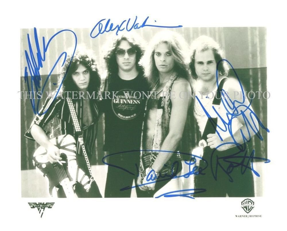 """VAN HALEN SIGNED AUTOGRAPHED 8""""X10"""" RPT PHOTO GREAT BAND DAVID LEE ROTH EDDIE BY ALL"""
