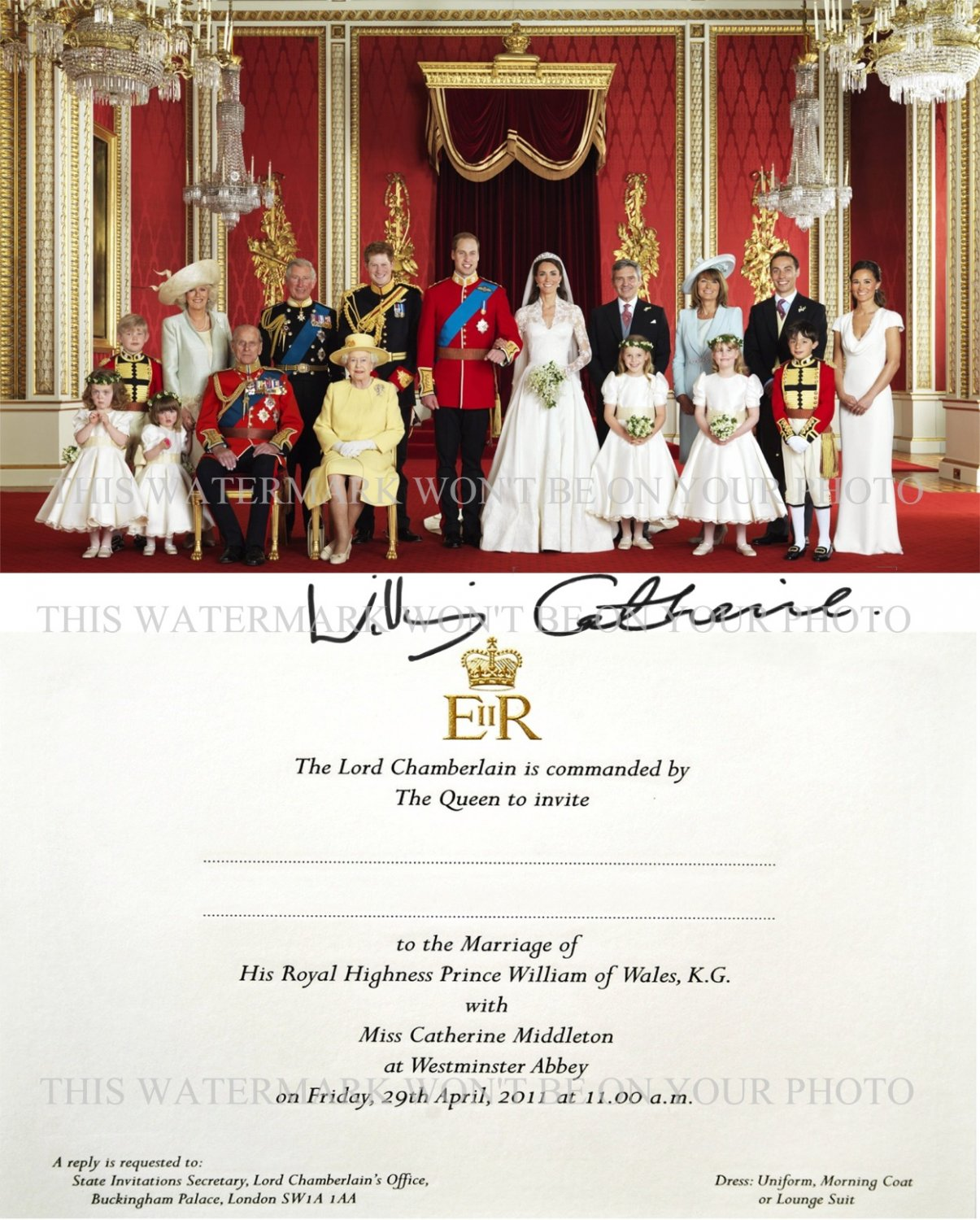 PRINCE WILLIAM AND CATHERINE KATE MIDDLETON AUTOGRAPHED 8x10 RP ROYAL WEDDING PHOTO AND INVITATION
