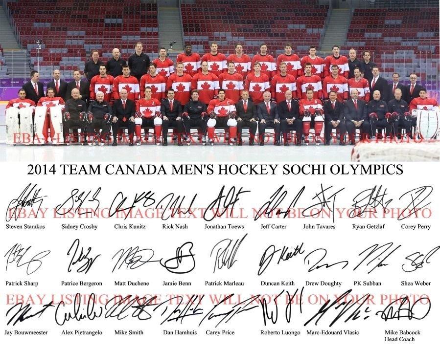 TEAM CANADA MENS OLYMPIC HOCKEY SIGNED BY 26 8x10 RP PHOTO CROSBY LUONGO NASH +