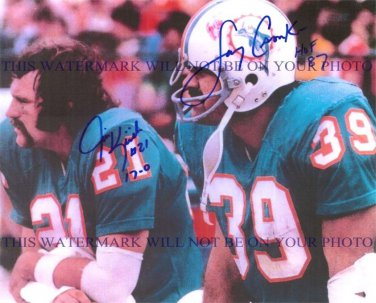 JIM KIICK AND LARRY CSONKA AUTOGRAPHED 8x10 RP PHOTO 1972 MIAMI DOLPHINS