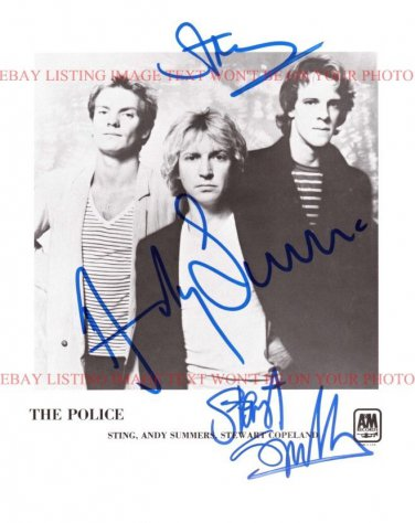 THE POLICE AUTOGRAPHED 8x10 RP PHOTO GREAT CLASSIC ROCK STING SUMMERS COPELAND