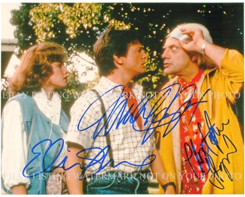 BACK TO THE FUTURE CAST SIGNED AUTOGRAPHED 8x10 RP PHOTO FOX LLOYD AND SHUE
