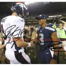 PEYTON MANNING AND RUSSELL WILSON SIGNED AUTOGRAPHED 8x10 RP PHOTO BRONCOS VS SEAHAWKS