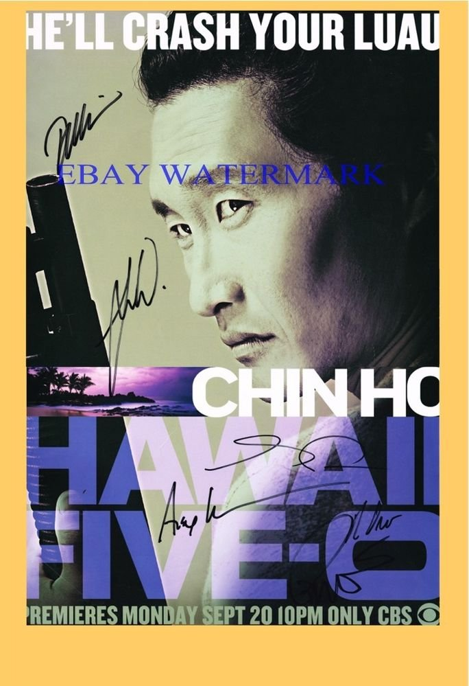 HAWAII FIVE-O CAST ORIGINAL HAND SIGNED 20x13 POSTER BY 6 SDCC GRACE PARK DANIEL