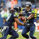 RUSSELL WILSON AND MARSHAWN LYNCH SIGNED AUTOGRAPHED 8x10 RP PHOTO SEATTLE SEAHAWKS DUO