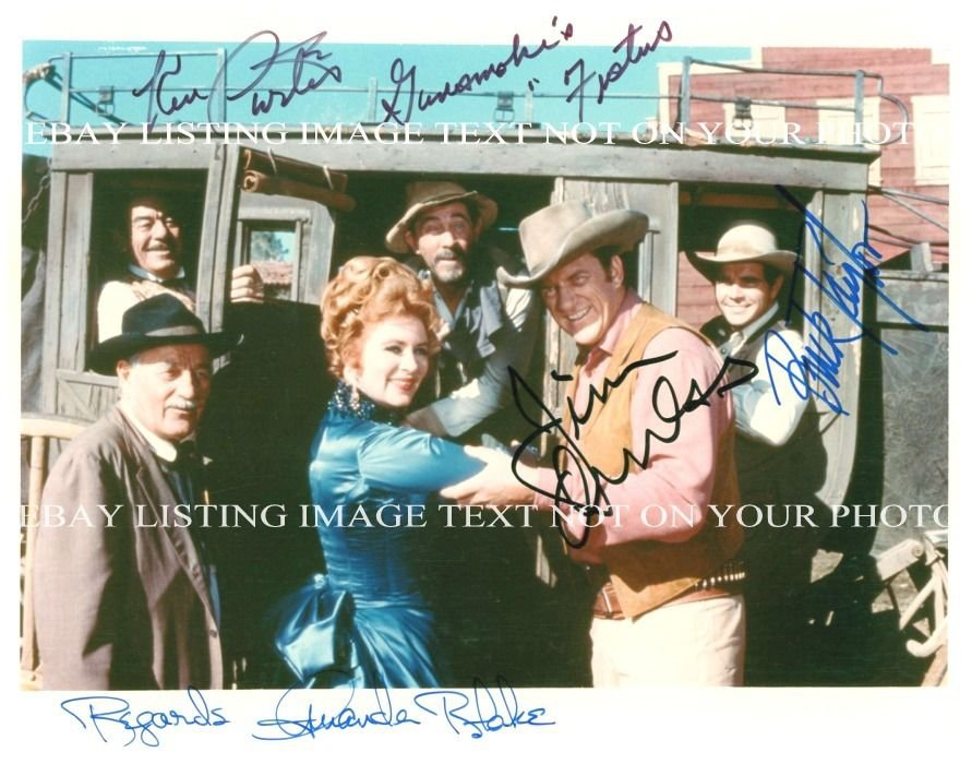 Dodd Mitchell Darin Death 1963: GUNSMOKE CAST SIGNED AUTOGRAPHED 8x10 RP PHOTO JAMES