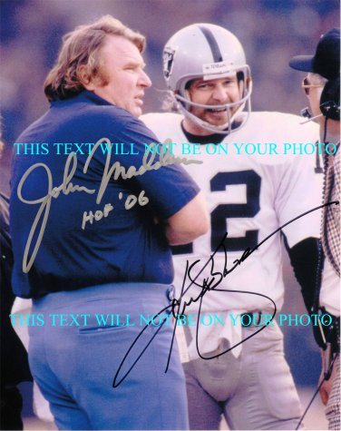 JOHN MADDEN AND KENNY STABLER SIGNED AUTOGRAPHED 8x10 RP PHOTO OAKLAND RAIDERS