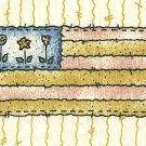 Quilt Labels Flag  3 Flowers