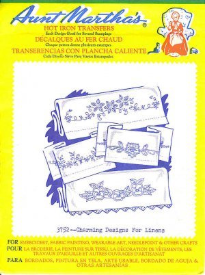 Aunt Martha's Iron on Transfer Charming Designs for Linens 3752
