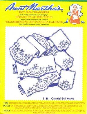 Aunt Martha's Iron on Transfer Colonial Girls Motifs 3188 ZDS1