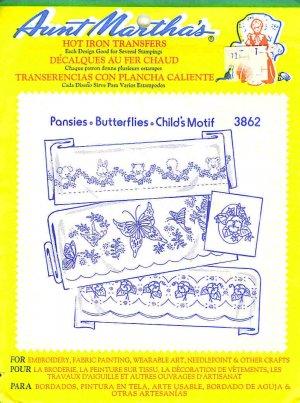 Aunt Martha's Iron on Transfer Pansies Butterflies Child 3862