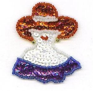 RED HAT LADY PURPLE DRESS SEQUIN BEADED APPLIQUE PATCH