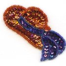 RED HAT LARGE PURPLE BOW SEQUIN BEADED APPLIQUE PATCH