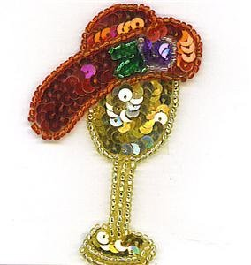 RED HAT WITH HAT STAND SEQUIN BEADED APPLIQUE PATCH ZDS1