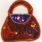 RUBY RED PURSE W FLOWER SEQUIN BEADED APPLIQUE PATCH