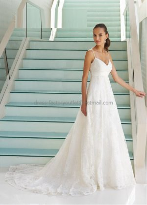 A-line Thin Straps White Chantilly Lace Wedding Dress Classic V-neck ...