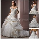 A-line Off Shoulder Ivory Taffeta Lace Wedding Dress Pleated Bridal Ball Gown