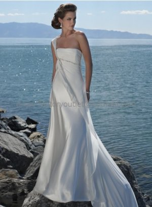A-line One Shoulder White Chiffon Wedding Pleated Empire Waist  Beach Bridal Gown