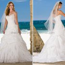 2012 A-line 2 Straps White Taffeta Applique Wedding Dress Cascading Bridal Ball Gown Sz 4 6 8 12 10