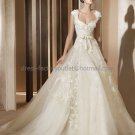 A-line Cap Sleeves White Organza Applique Wedding Dress Sz 6 10 12 14 8 Bridal Ball Gown