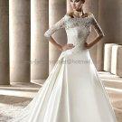 A-line Strapless White Satin Wedding Dress Sz 6 10 12 14 8 Alencon Lace Jacket Bridal Ball Gown