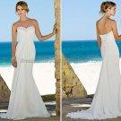 2012 A-line Strapless White Chiffon Wedding Dress Beaded Custom Beach Bridal Gown