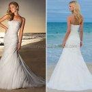 2012 A-line Strapless White Chiffon Wedding Dress Beaded Applique Beach Bridal Gown