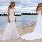 2012 A-line Strapless White Satin Wedding Dress Jeweled Beach Bridal Gown