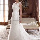A-line Sleeveless Boat-neck White Ivory Lace Wedding Dress Beaded Bridal Gown