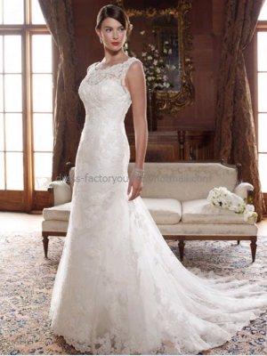 A-line Sleeveless Boat-neck White Ivory Lace Wedding Dress Beaded ...