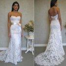 A-line Strapless White Ivory Alencon Lace Wedding Dress  Sz24 6 8 10+Custom Bridal Gown