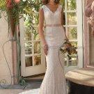 Mermaid Champagne Lace Wedding Dress Sz24 6 8 10+ Custom Hollow Back Bridal Evening Gown