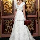 A-line Short Cap Sleeves White Lace Wedding Dress Sz24 6 8 10+ Custom Bridal Gown