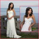 A-line Strapless White Chiffon Satin Champagne Lace Wedding Dress Empire Waist Maternity Bridal Gown