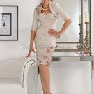 2012  Strapless Beige Taffeta Knee Length Mother of the Bride Dress Short Evening Dress Free Jacket