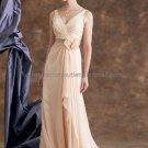 2012 V-neck Beige Chiffon Floor Length Mother of the Bride Dress Long Draped Rullfes Evening Dress