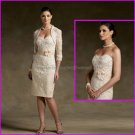 Strapless Beige Lace Taffeta Short Mother of the Bride Dress Champagne Short Evening Dress & Jacket