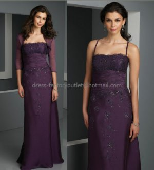 Spaghetti StrapsA-line Long Mother of the Bride Dress Applique Lace Evening Dress Free Jacket